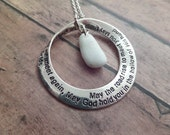 Scottish Irish Blessing Necklace with Iona Marble and Engraved Hoop, Mobius Strip Pendant, White and Silver Healing Stone from Scotland