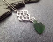 Irish Sea Glass Necklace with Celtic Knot Charm and Green Beach Glass, Stainless Steel Chain, Gift from Ireland