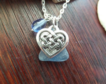 Celtic Knot Heart Necklace, Blue Sea Glass Necklace, Scottish Jewelry, Gift from Scotland