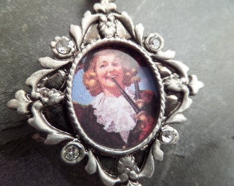 Scottish Keychain or Bag Charm with Vintage Scottish Lady Bagpiper, Bagpipes from Scotland
