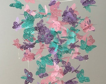 Big Bold and Beautiful - 3D Monarch Butterfly Chandelier Mobile - girl room mobile, nursery mobile, baby girl mobile, photo prop,