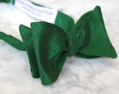 Dark Forest Green Silk Bow Tie for men or boys - clip on, pre-tied with strap or self tying - wedding rig bearer