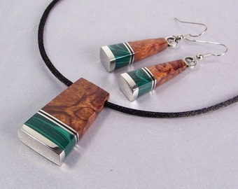 Handmade Statement Jewelry SHIPS IMMEDIATELY Inlaid Desert Ironwood Necklace Earrings Set