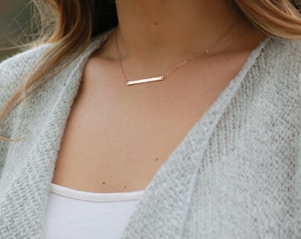 Mini Gold Bar Necklace - Minimal Layering Necklace, Dainty Everyday Necklace, Skinny Silver Horizontal Bar, Rose Gold Bar Necklace