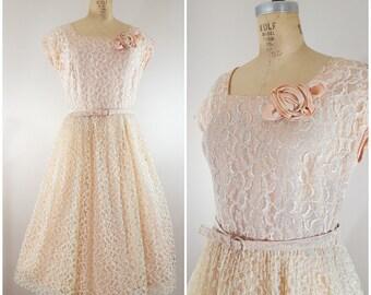 Vintage 1940s/1950s Lace Dress / Pink Beige Dress / Cocktail Dress / Vintage Prom Dress / Medium Large