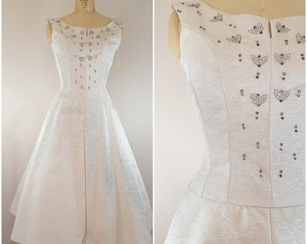 Vintage 1950s Dress / Champagne Ball Gown with Beading / Lana Lobell / Vintage Wedding Dress / Small
