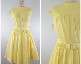 Vintage 1950s Dress / 1960s Dress / Yellow / Full Skirt / Sleeveless /  Nelly Don / Tags Attached