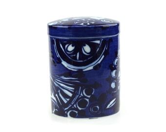 Bjorn Wiinblad Rosenthal Studio Linie Cobalt Blue Bird Porcelain Box - Jewel Box.. Mid Century Modern Modernist Danish Nordic design..