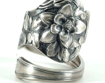 Colimbine Flower Ring, Sterling Silver Spoon Ring, Floral Ring, Flower Spoon Ring, Colorado Gift, Promise Ring, Adjustable Ring Size (5850)