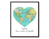 Anniversary Gift, Heart Map Print, Long Distance Boyfriend Gift, Long Distance Relationship Gift, Husband Gift, Personalized World Map Heart