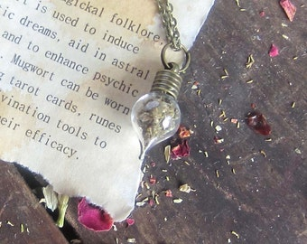 Witchcraft Jewelry MUGWORT amulet Wiccan Herbs vial necklace spells pagan wicca herbs magick occult witchcraft witch amulet