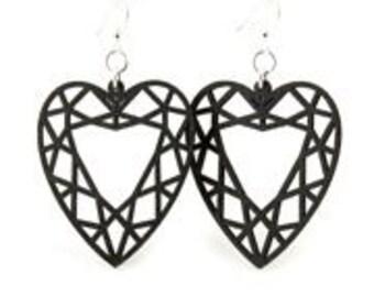 Guarded Heart - Laser Cut Wood Earrings