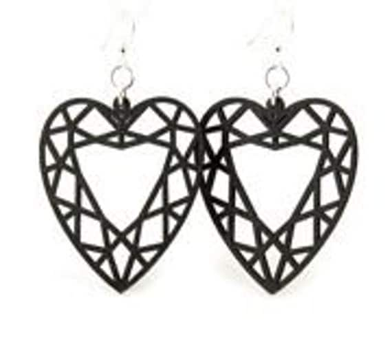 Guarded Heart - Laser Cut Wood Earrings