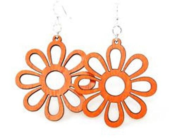 Sunflower Geometric - Wood Earrings
