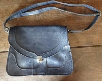 Vintage English Man Made Material Dark Blue Ladies Handbag Shoulder Carry Soft Accessories Hand Bag circa 1960-70's / English Shop