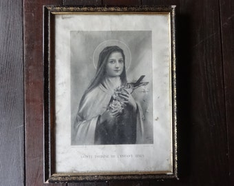 Antique French Saint Therese De L'Enfant Jesus black and white print religion religious circa 1912 / English Shop