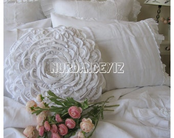 round pillow - dahlia lotus flower pillow -shabby chic bedding  beach cottage country decorative pillow white blue pink linen mandala pillow