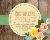 Personalized First Day of School Chalkboard Sign, 8 x 10 Printable First Day of School Sign 2016-2017, Personalized Name & Grade- 500