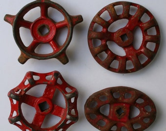 Set of 4 Rich Red and Rustic  Vintage Valve Handles~ RARE Batch~ Special Handles ~ Shipping Special ~ Larger Handles