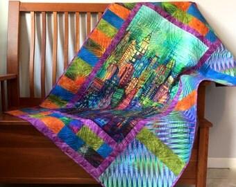 Skyline Art Quilt - Subway Tiles Fabric Wall Hanging - Modern Urban Lap Quilt - Quilted Sofa Throw - Dorm Quilt - Fiber Art - Handmade NYC