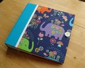 Elephant Photo Album/ Scrapbook/ Rainbow Baby Book in Turquoise