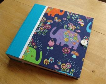 Baby Elephant Photo Album/ Scrapbook/ Baby Book in Turquoise