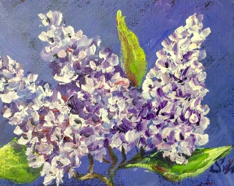 "Lilacs painting original floral art on canvas panel 5 x 7"""