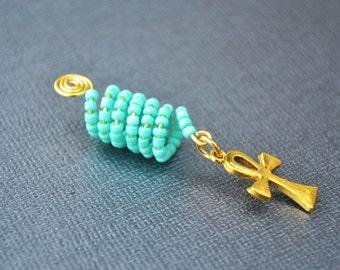 Turquoise Dreadlock Jewelry,Ankh Dreadlock Jewelry, loc Jewelry, Braid Bead, Afrocentric Jewelry
