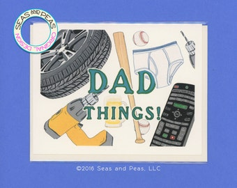 DAD THINGS - Funny Card for Dad - Dad Card - Father Card - Funny Fathers Day - Fathers Day Card - Funny Dad Card - Dad - Father - Item# F029