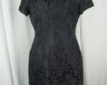 Adele Simpson Vtg 50s Black Floral Brocade Silk Hourglass Dress-Bust 38/M, Make offer