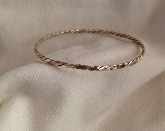 Bracelet Sterling Silver With Hand-Braided 14KT Gold, Rose Gold, And Sterling Silver Wire