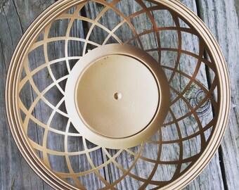 SALE Vtg Geometric Painted Metallic Gold Plastic Decorative Bowl