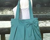 Summer Sale 10% off Teal green cotton canvas purse with bow / tote bag / shoulder bag / hand bag / diaper bag - zipper closure