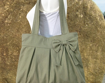 Olive green womens tote bag / cavas purse for women / fabric diaper bag / bow purse / handbag / hobo