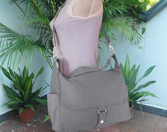 Gray travel bag, school bag, diaper bag, canvas purse, shoulder bag, messenger bag for women