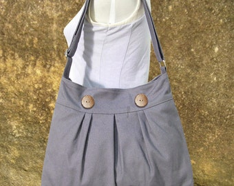 gray cotton canvas travel bag / shoulder bag / messenger bag / diaper bag / cross body bag, zipper closure