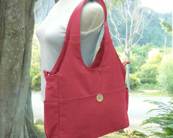 Red canvas shoulder bag, tote bag for women, fabric diaper bag, women's messenger bag