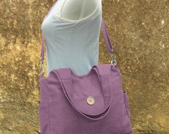 purple canvas hand bag, canvas messenger bag, diaper bag, tote bag for ladys