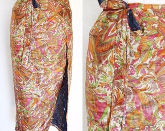 FREE SHIPPING//Vintage wrap around reversible boho indian retro skirt