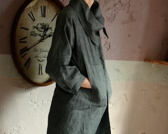 Dark grey linen cardigan with pockets