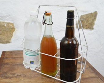 French Wire Bottle Carrier Vintage White chippy caddy crate basket