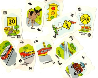 10 Vintage Highway Travel Game Cards - Mixed Media, Altered Art, Collage, Scrapbooking, Assemblage Supplies