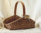Magazine Basket w/ Solid Oak Handle Handwoven Country-Style