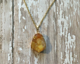 Gorgeous yellow druzy necklace