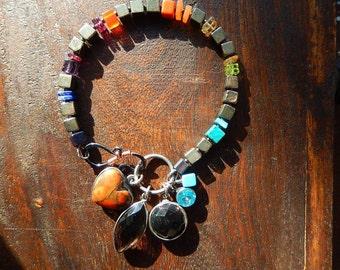 Pyrite Bracelet, Gemstone Bracelet, Colorful, Mixed Gemstones, Charms, Gypsy Bracelet, Boho Jewelry