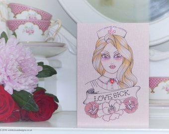 Nurses day cards etsy for Love sick tattoo
