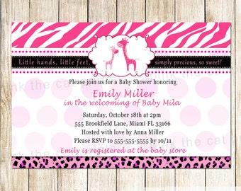 Giraffe Baby Shower Invitation Card - Hot Pink Zebra Invitation Zebra Baby Girl Shower Invite Printable Personalized Jungle Invitation