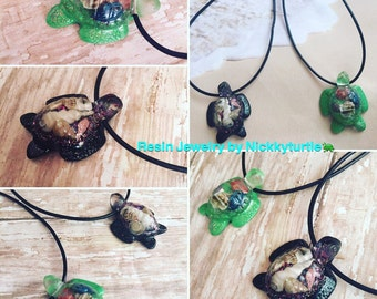 Sea Turtle necklace with real shells inside.