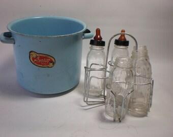 Vintage Amsco Miniature Enamel and Glass Doll's Bottle Set