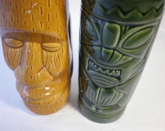Pair of Vintage Ceramic Tiki Mugs Cups
